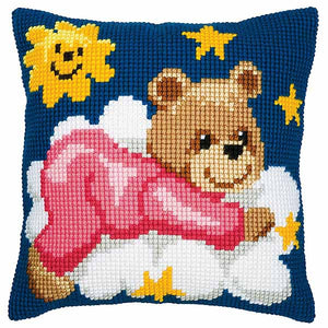 Pink Teddy Printed Cross Stitch Cushion Kit by Vervaco