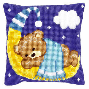 Blue Teddy on the Moon Printed Cross Stitch Cushion Kit by Vervaco
