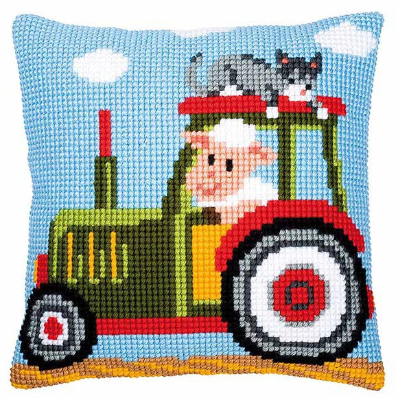 Tractor Printed Cross Stitch Cushion Kit by Vervaco
