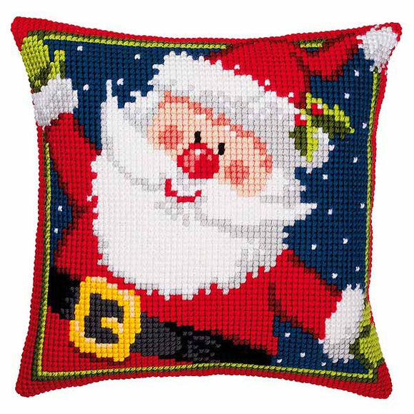 Father Christmas Printed Cross Stitch Cushion Kit by Vervaco