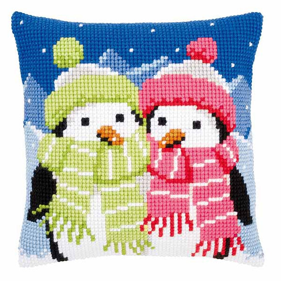 Penguins with Scarf Printed Cross Stitch Cushion Kit by Vervaco