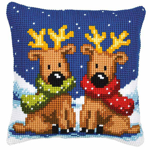 Reindeer Twins Printed Cross Stitch Cushion Kit by Vervaco