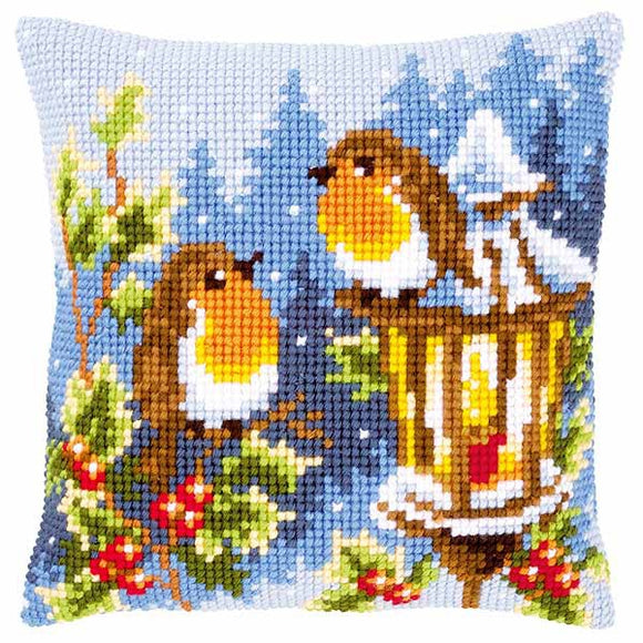 Robins at the Lantern Printed Cross Stitch Cushion Kit by Vervaco