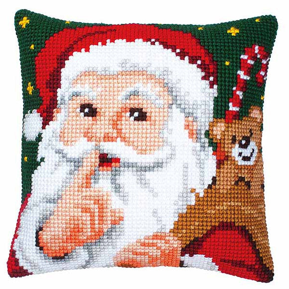 Santa Printed Cross Stitch Cushion Kit by Vervaco