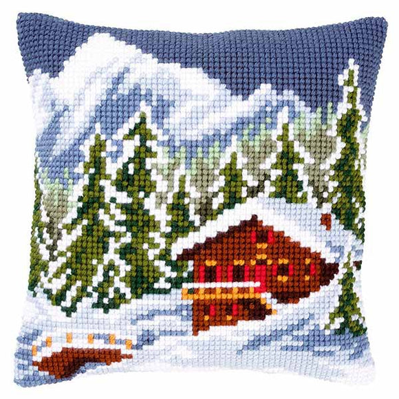 Snow Landscape Printed Cross Stitch Cushion Kit by Vervaco