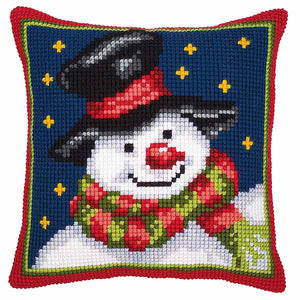 Snowman Printed Cross Stitch Cushion Kit by Vervaco