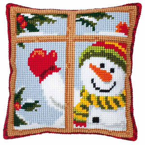 Waving Snowman Printed Cross Stitch Cushion Kit by Vervaco