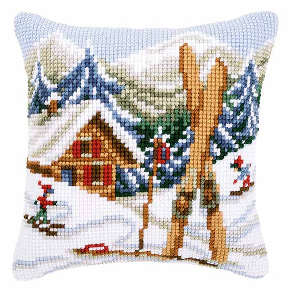 Snow Fun Printed Cross Stitch Cushion Kit by Vervaco