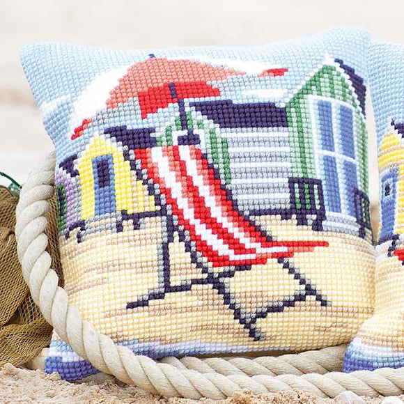 Deckchair Printed Cross Stitch Cushion Kit by Vervaco