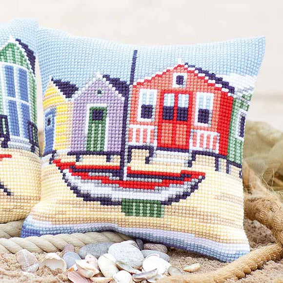 Boat Printed Cross Stitch Cushion Kit by Vervaco
