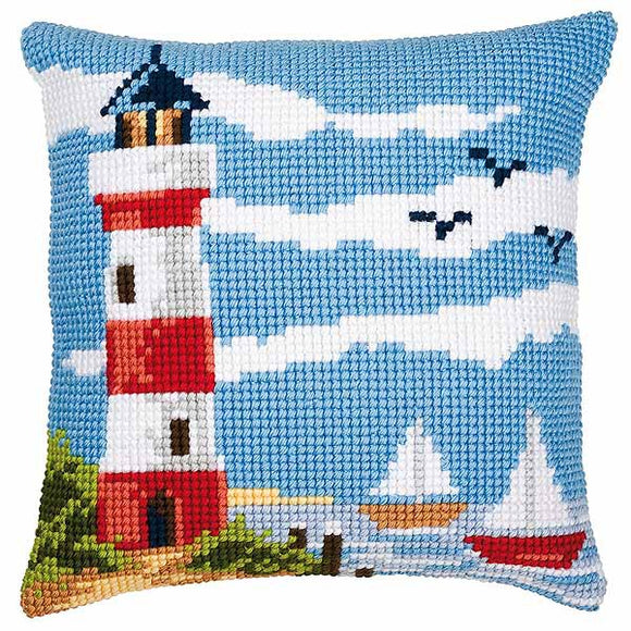 Lighthouse Scene Printed Cross Stitch Cushion Kit by Vervaco