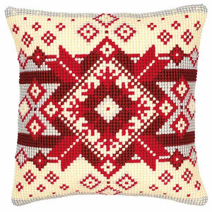 Geometric Pattern Printed Cross Stitch Cushion Kit by Vervaco