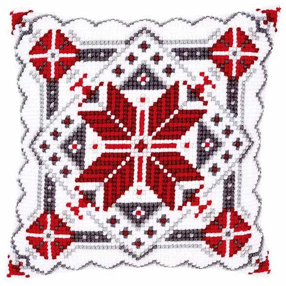 Snow Crystal Printed Cross Stitch Cushion Kit by Vervaco