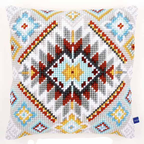 Ethnic Printed Cross Stitch Cushion Kit by Vervaco