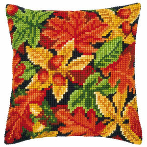 Autumn Leaves Printed Cross Stitch Cushion Kit by Vervaco