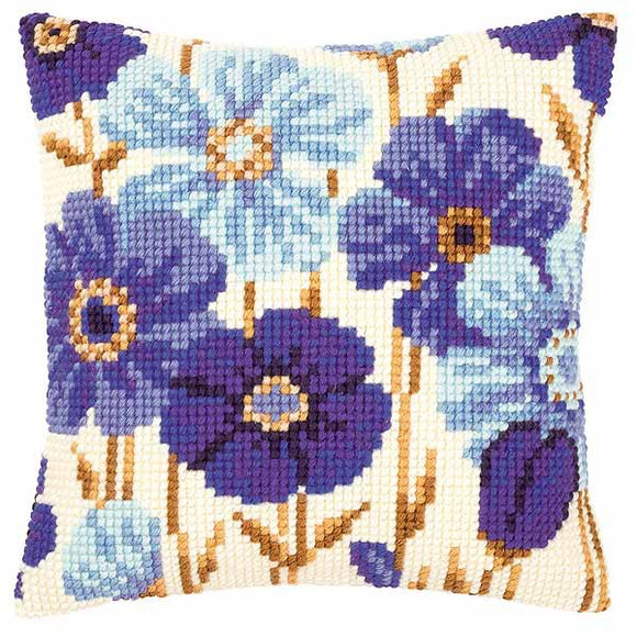 Blue Flowers Printed Cross Stitch Cushion Kit by Vervaco