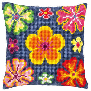 Bright Flower Printed Cross Stitch Cushion Kit by Vervaco