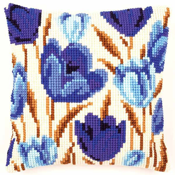Crocus Printed Cross Stitch Cushion Kit by Vervaco