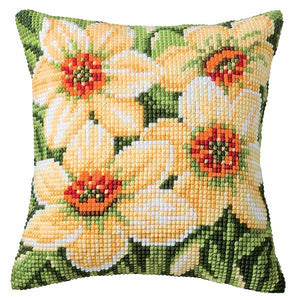 Daffodils Printed Cross Stitch Cushion Kit by Vervaco