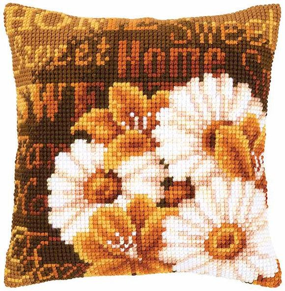 Daisies Printed Cross Stitch Cushion Kit by Vervaco