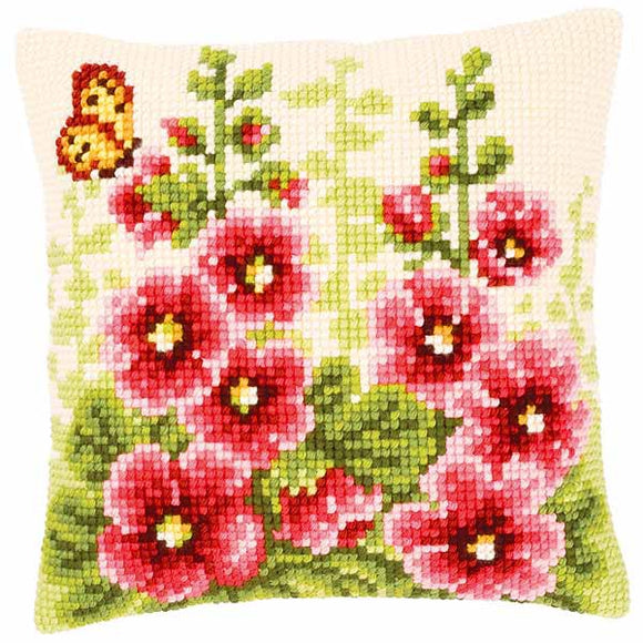 Delphiniums Printed Cross Stitch Cushion Kit by Vervaco