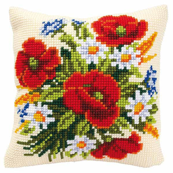 Poppies and Daisies Printed Cross Stitch Cushion Kit by Vervaco
