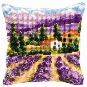 Lavender Fields Printed Cross Stitch Cushion Kit by Vervaco