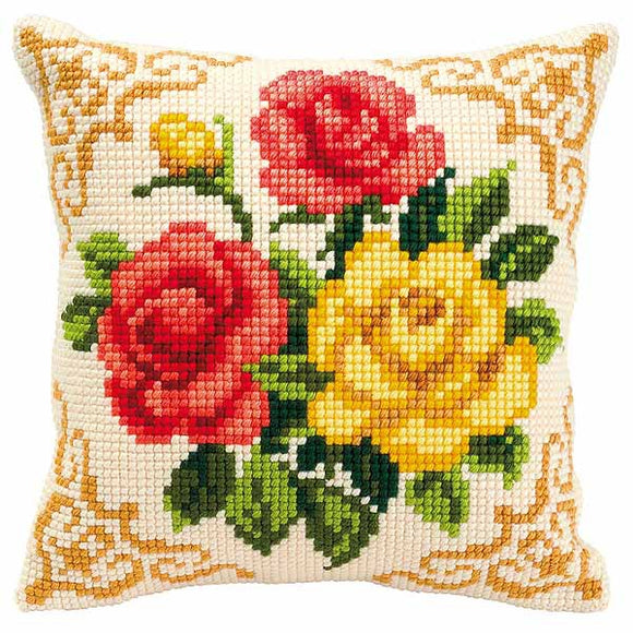 Mixed Roses Printed Cross Stitch Cushion Kit by Vervaco
