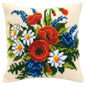 Floral Bouquet Printed Cross Stitch Cushion Kit by Vervaco