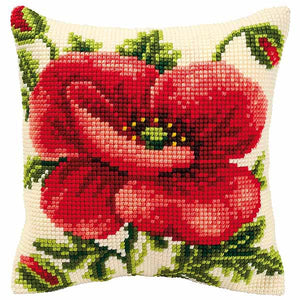 Oriental Poppy Printed Cross Stitch Cushion Kit by Vervaco