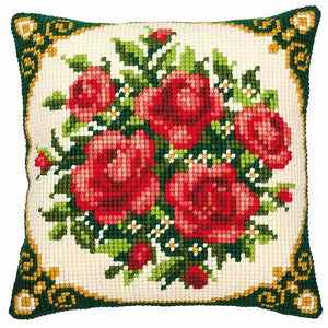 Pale Red Roses Printed Cross Stitch Cushion Kit by Vervaco