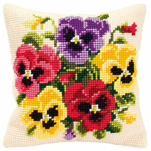 Pansy Posy Printed Cross Stitch Cushion Kit by Vervaco