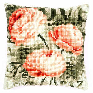 Peonies Printed Cross Stitch Cushion Kit by Vervaco