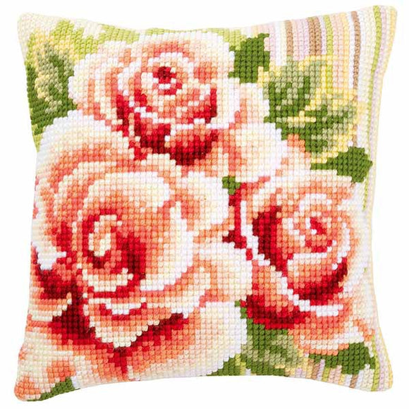 Pale Pink Roses Printed Cross Stitch Cushion Kit by Vervaco