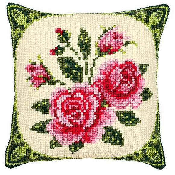 Pink Roses Printed Cross Stitch Cushion Kit by Vervaco