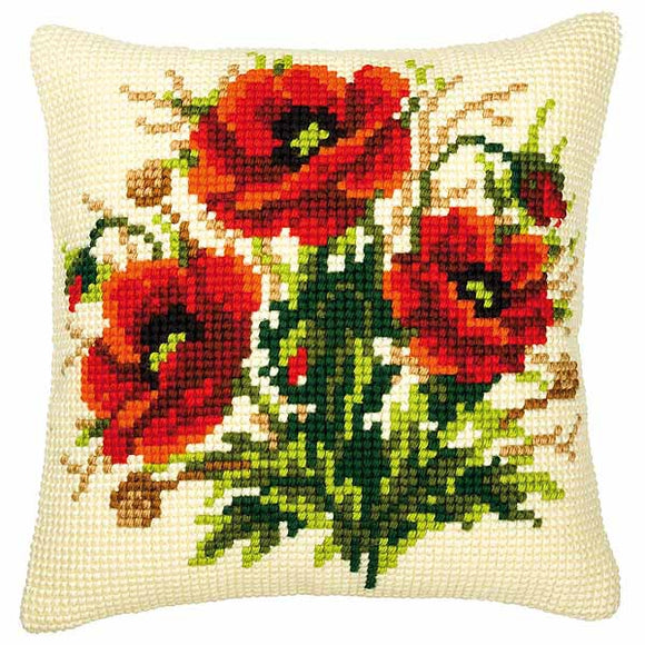 Poppies Printed Cross Stitch Cushion Kit by Vervaco