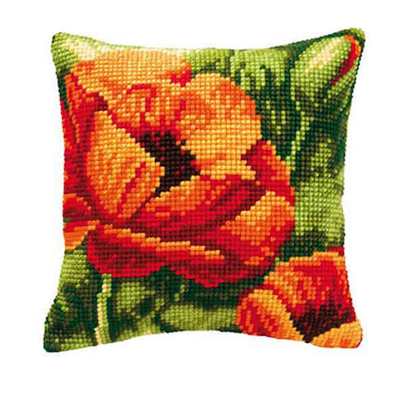 Red Poppies Printed Cross Stitch Cushion Kit by Vervaco