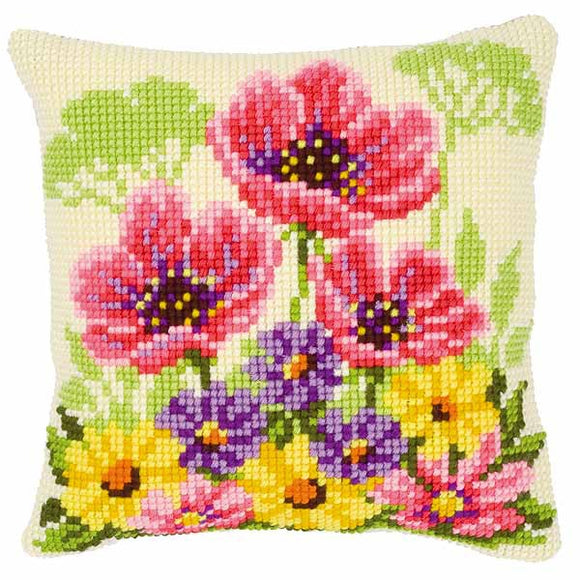 Pink Poppies Printed Cross Stitch Cushion Kit by Vervaco