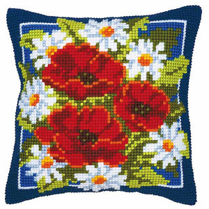 Daisies and Poppies Printed Cross Stitch Cushion Kit by Vervaco