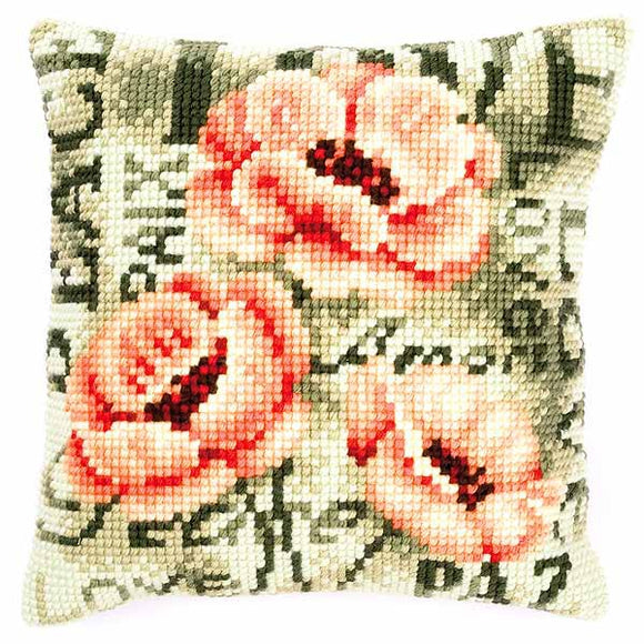 Pale Poppy Printed Cross Stitch Cushion Kit by Vervaco