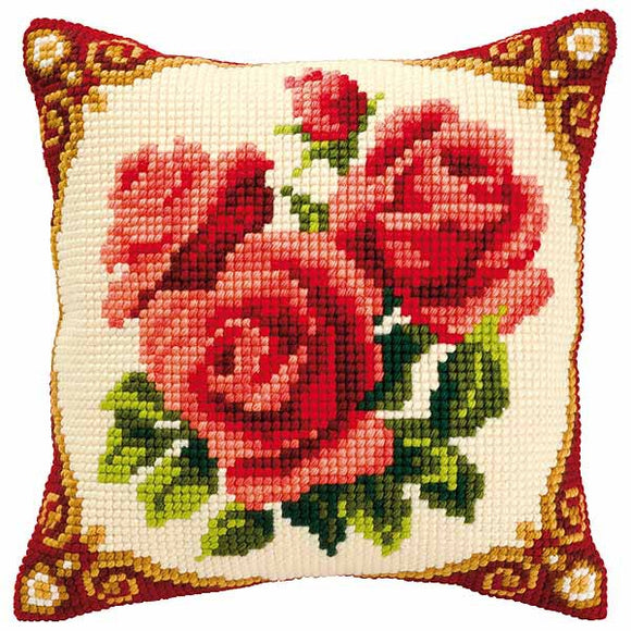 Red Roses Printed Cross Stitch Cushion Kit by Vervaco