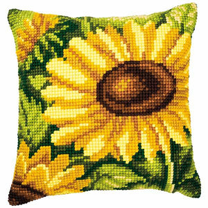 Bright Sunflower Printed Cross Stitch Cushion Kit by Vervaco