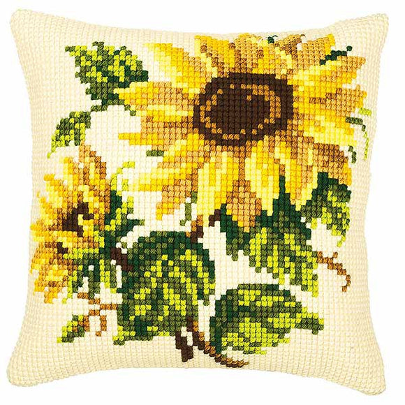 Sunflowers Printed Cross Stitch Cushion Kit by Vervaco