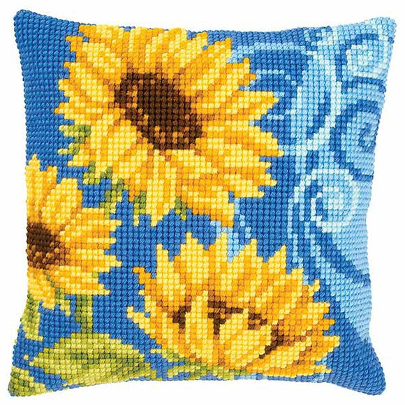 Blue Sunflowers Printed Cross Stitch Cushion Kit by Vervaco