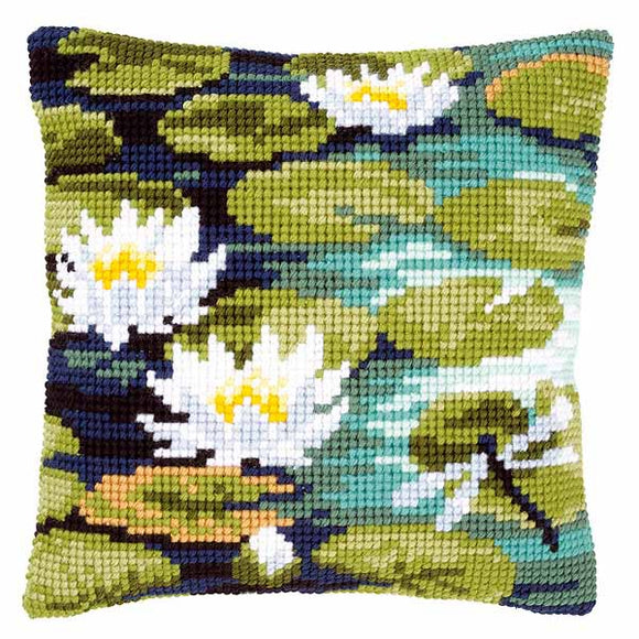 Waterlilies Printed Cross Stitch Cushion Kit by Vervaco