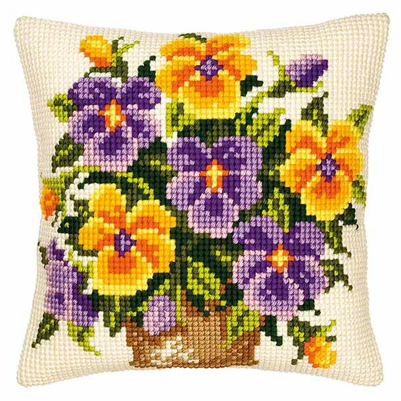 Pansies Printed Cross Stitch Cushion Kit by Vervaco