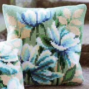 Japanese Anemones Printed Cross Stitch Cushion Kit by Vervaco