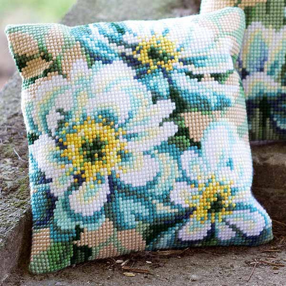 Japanese Anemone Printed Cross Stitch Cushion Kit by Vervaco