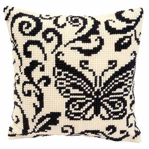 Blackwork Butterfly Printed Cross Stitch Cushion Kit by Vervaco