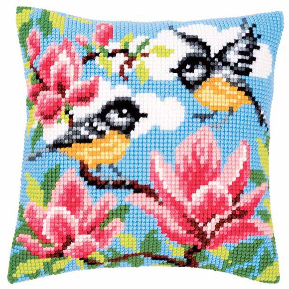 Blue Tits Printed Cross Stitch Cushion Kit by Vervaco